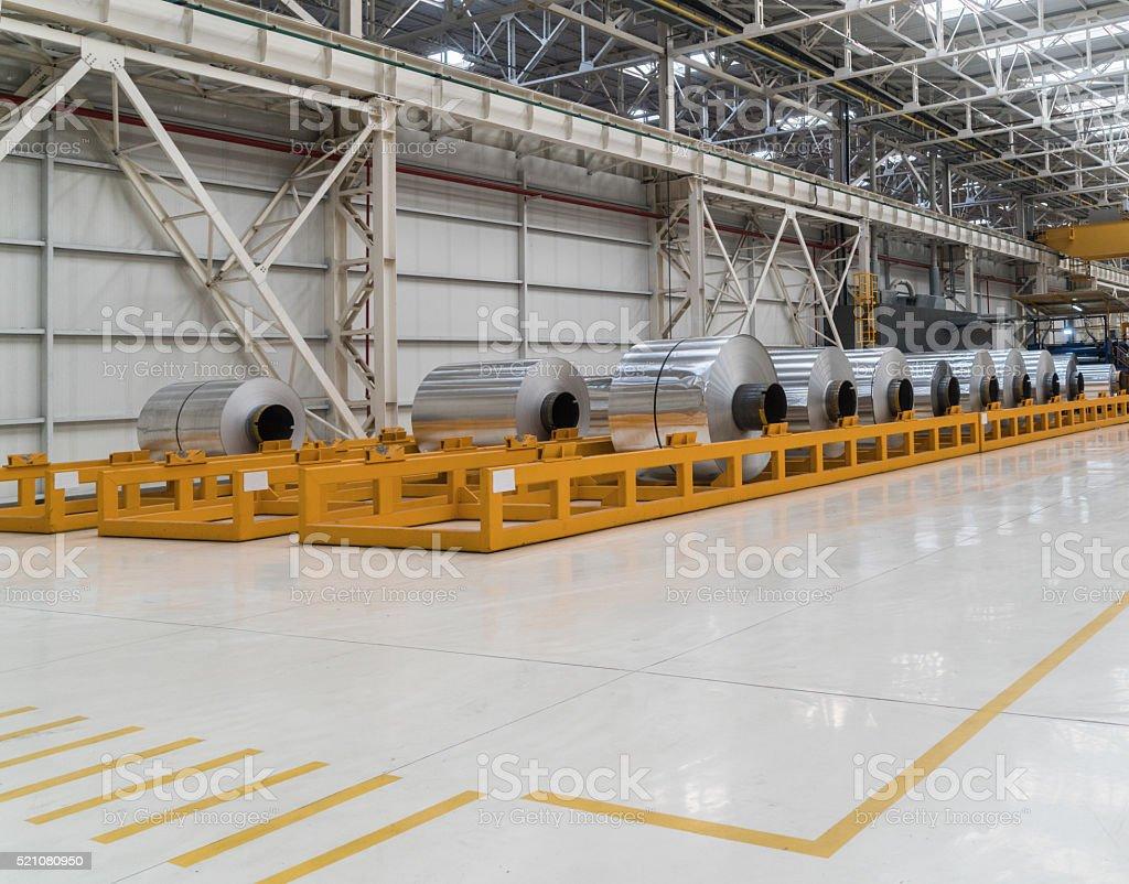 Large aluminium foils stock photo
