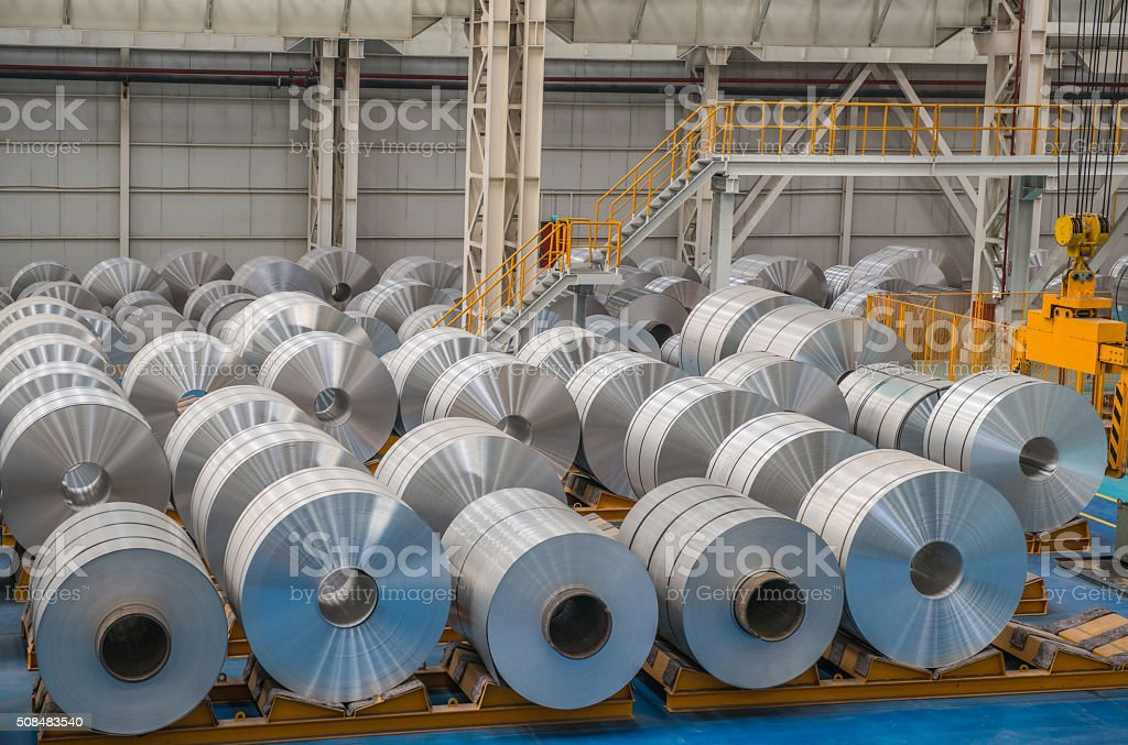Large Aluminium Steel Rolls in the factory stock photo