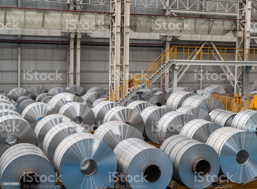 Large Aluminium Steel Rolls stock photo