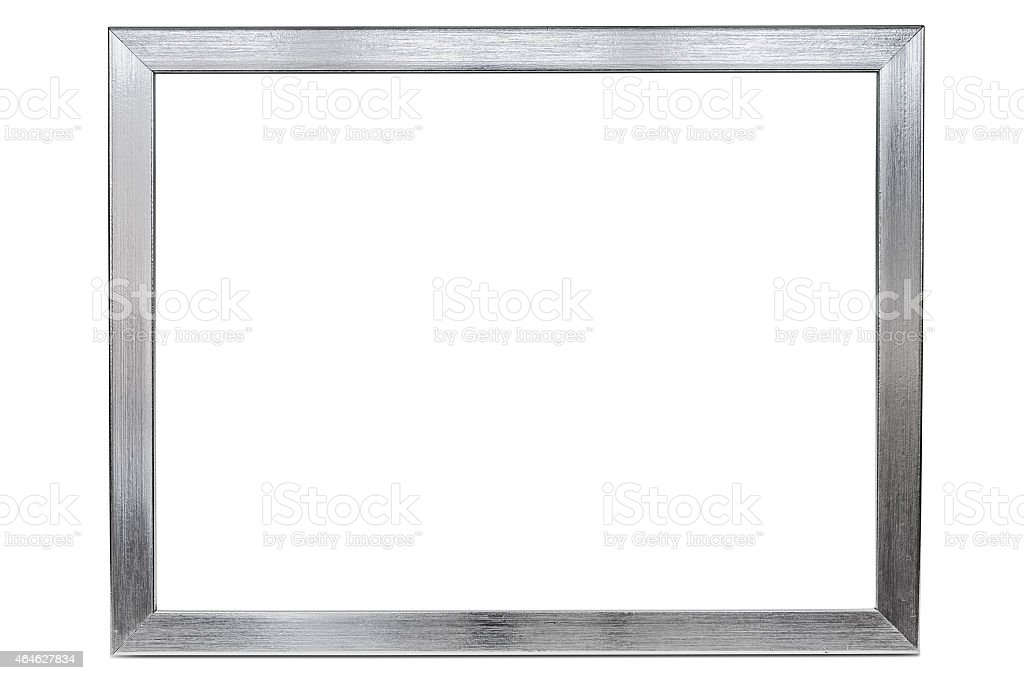 Large aluminum empty photo frame on a white background stock photo