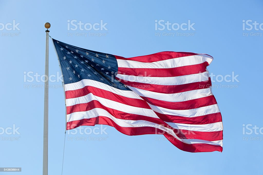 Large American Flag, Backlit stock photo