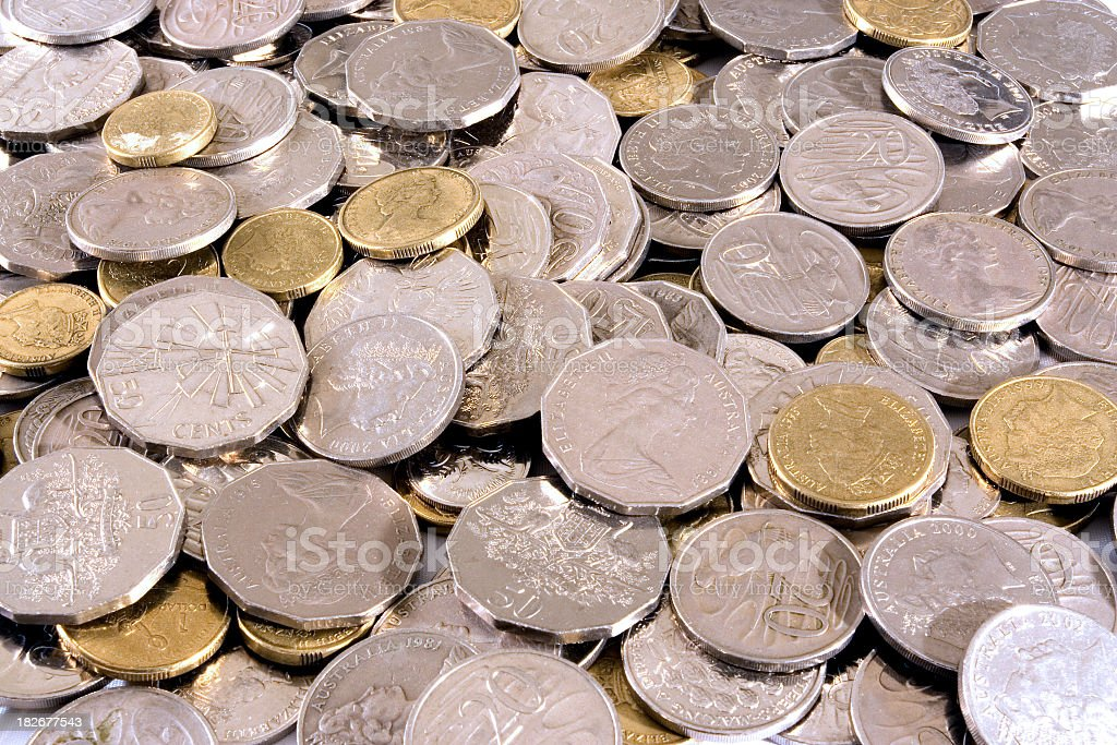 A large amount of Australian coins stock photo