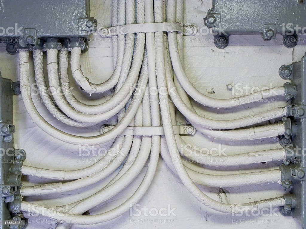 Large Amount Of Old Painted Electrical Conduit stock photo