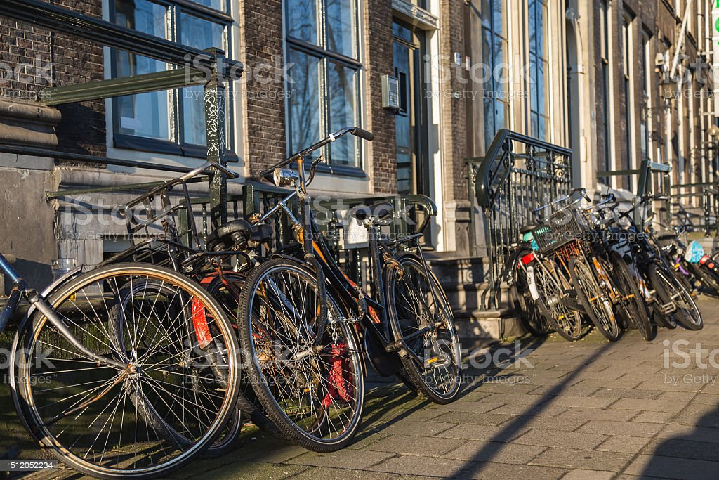 Large Amounts of Bikes in Amsterdam stock photo