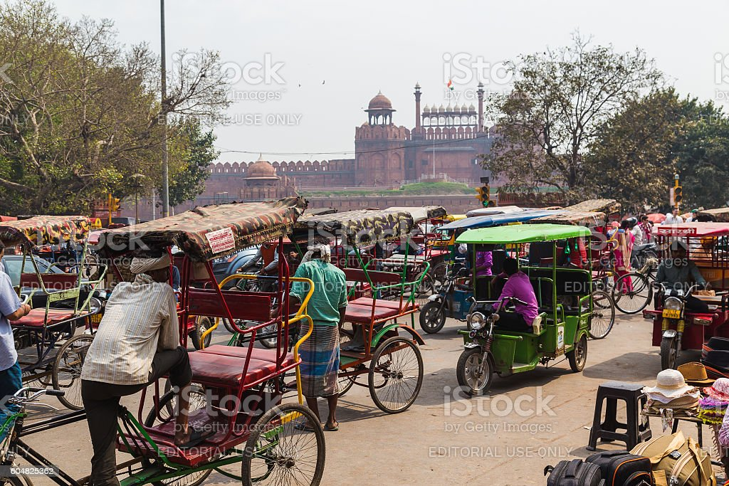 Large amounts of Rickshaws in Delhi stock photo