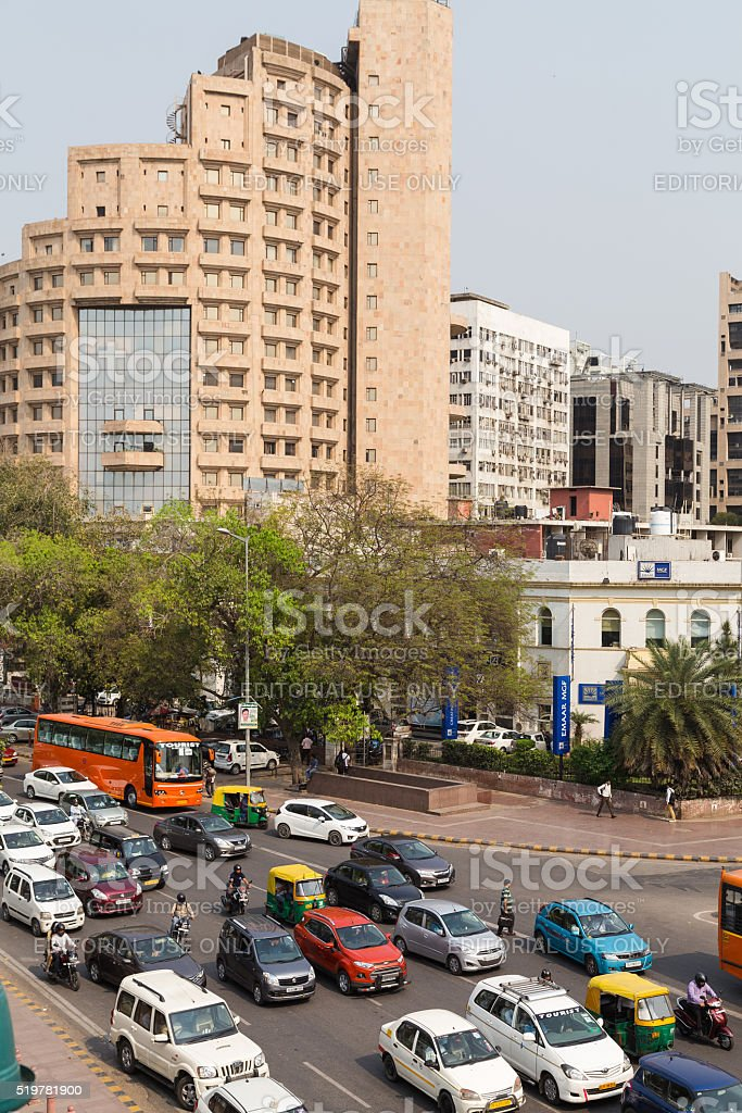 Large Amounts of Traffic in Delhi, India stock photo