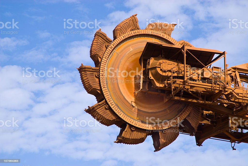 Large and old rusty iron ore mine site stock photo
