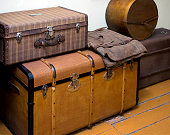 Large antique boxes for storing things stand