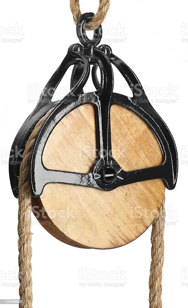 Large Antique Pulley stock photo