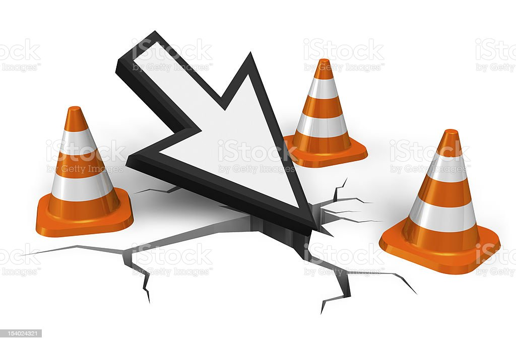 Large arrow pointing to cracks in the road by traffic cones stock photo