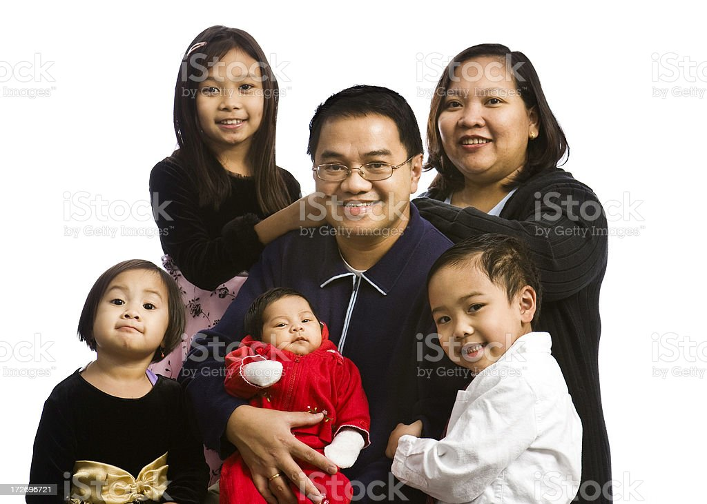 large asian family royalty-free stock photo