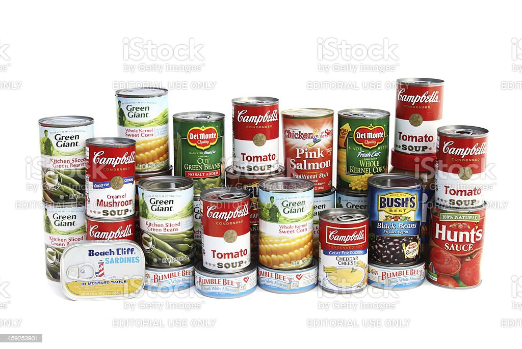Large assortment of canned foods stock photo