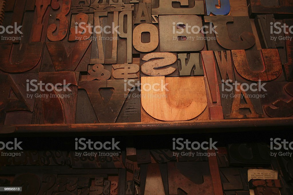 Large assortment of old woodtype. stock photo