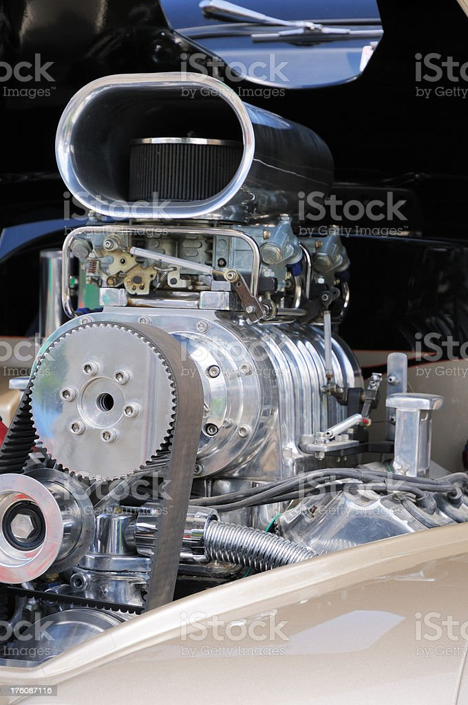 Large Automobile Engine with Turbo Supercharger royalty-free stock photo