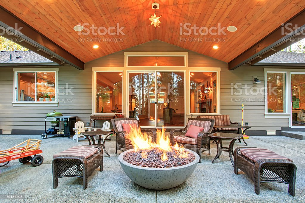Large back yard with grass. stock photo