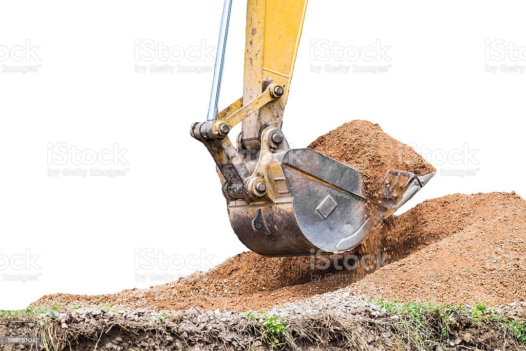 Large backhoe heavy dig soil stone stock photo
