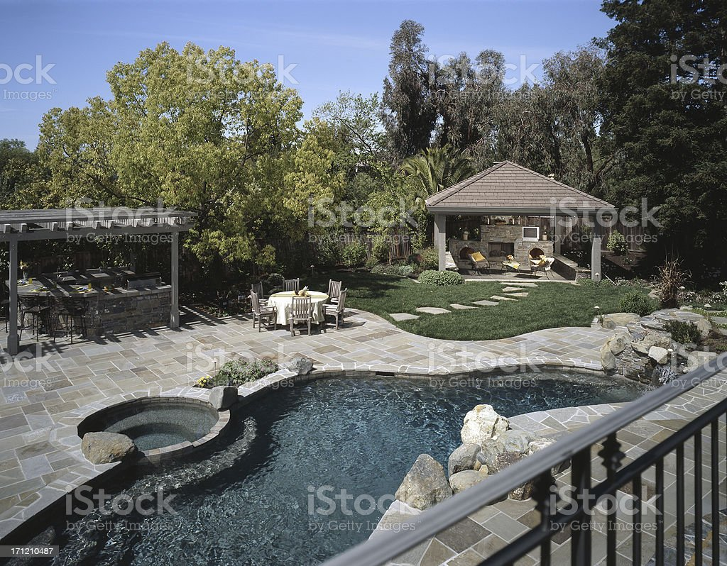 Large Backyard Pool royalty-free stock photo