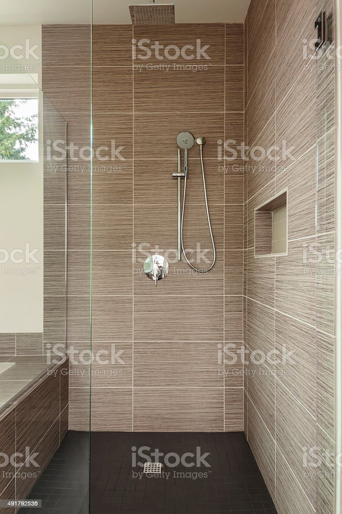Large bathroom with shower stock photo