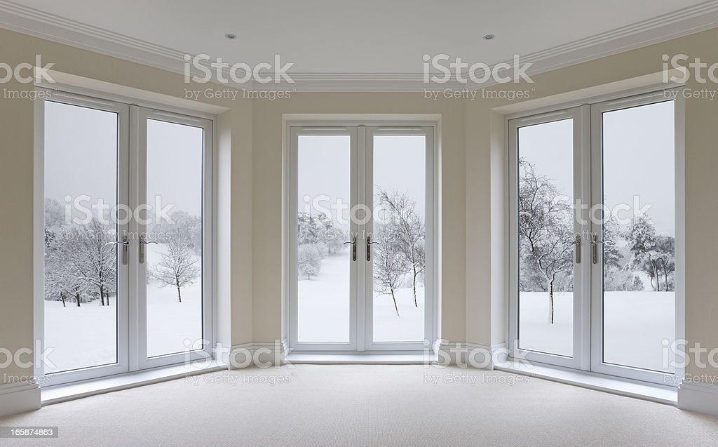 large bay windows and winter view stock photo