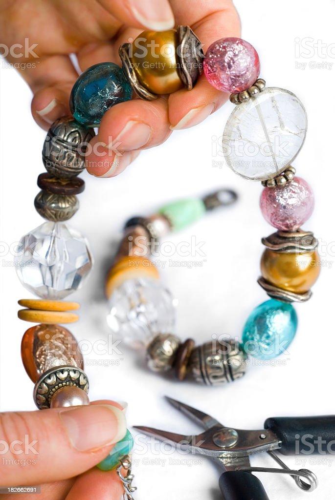 Large beaded necklace jewelry making stock photo