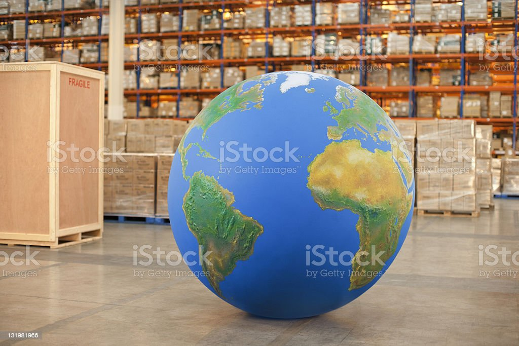 Large big blue ball in warehouse stock photo