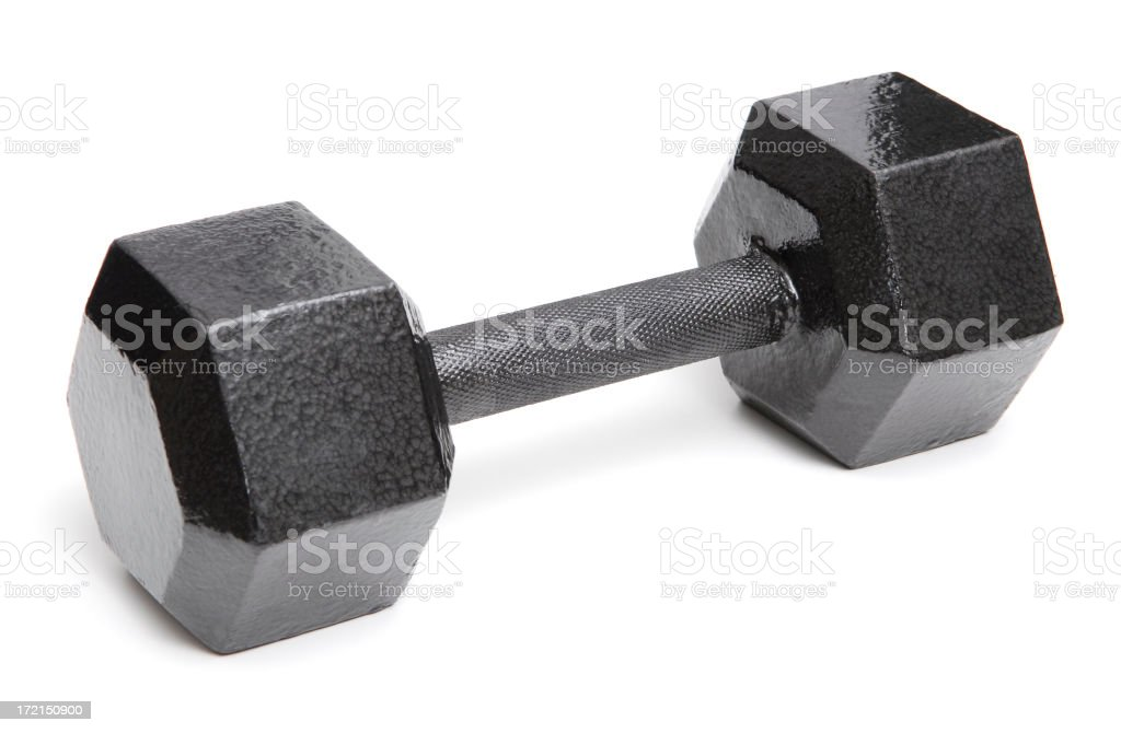 A large black barbell on a white background royalty-free stock photo