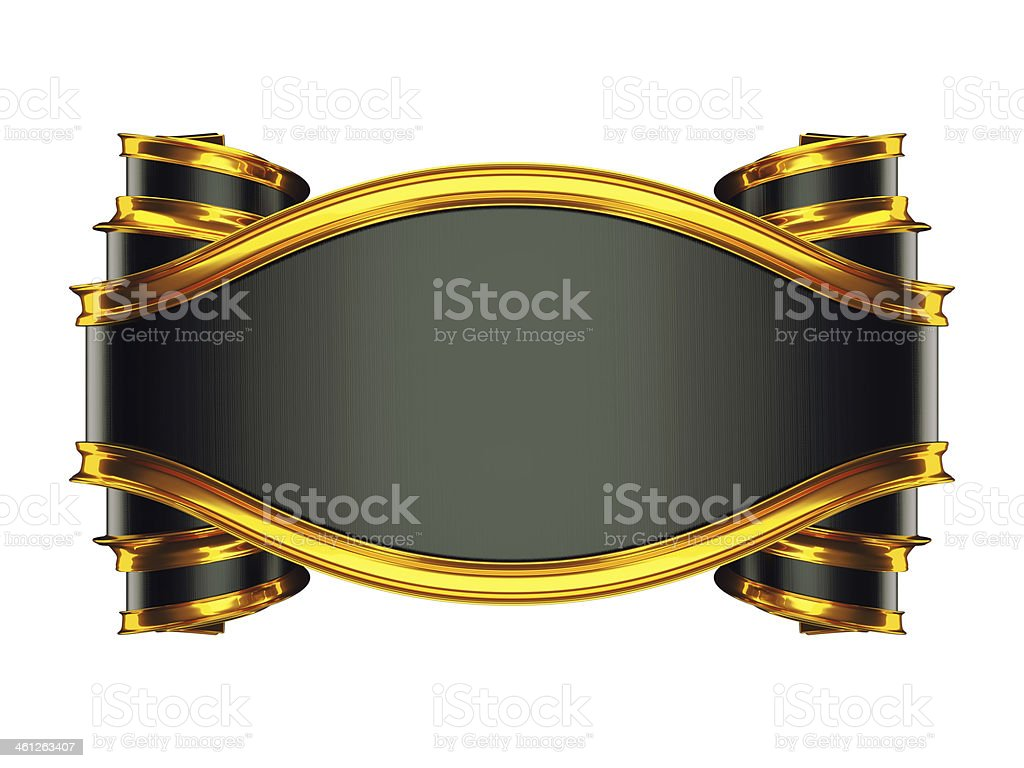 Large black emblem with curles and golden bordering royalty-free stock photo