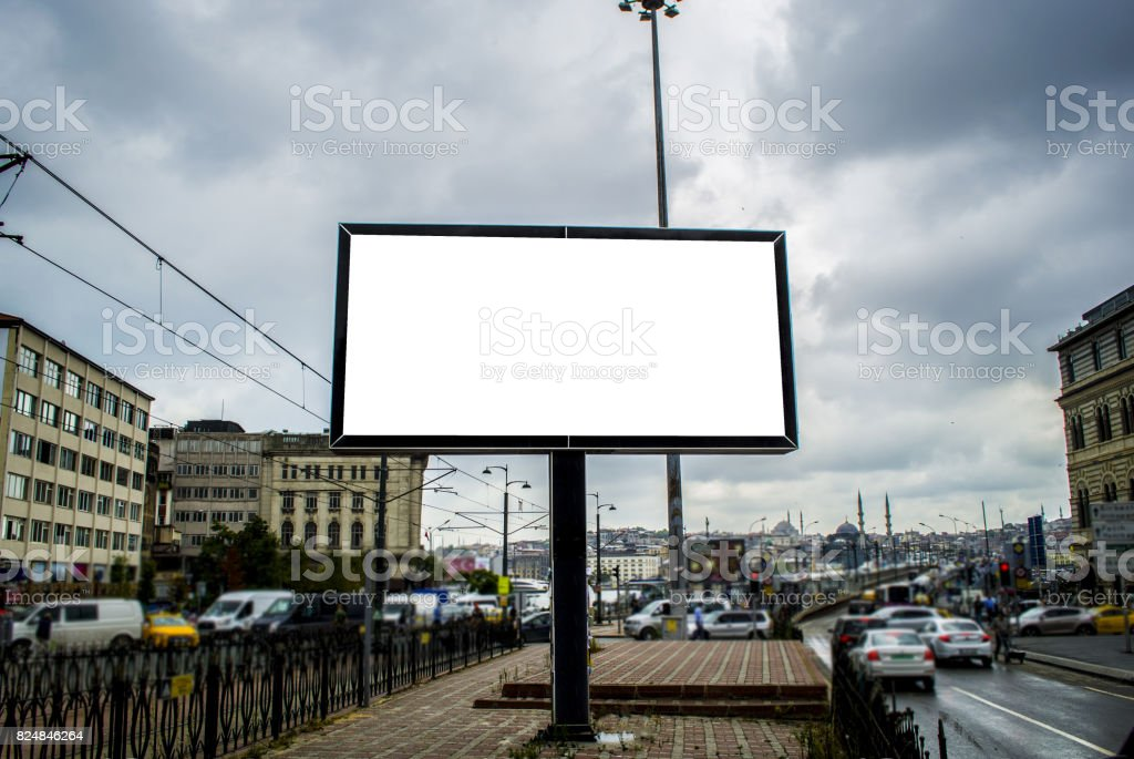 large blank billboard on road with view background stock photo