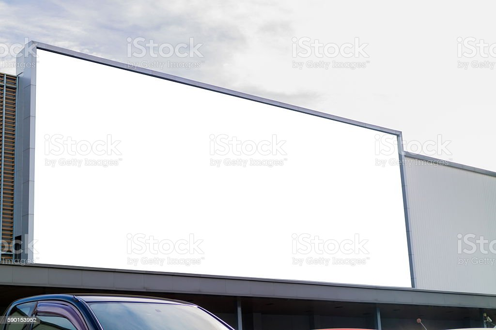 Large blank billboards on shopping mall for advertising. stock photo