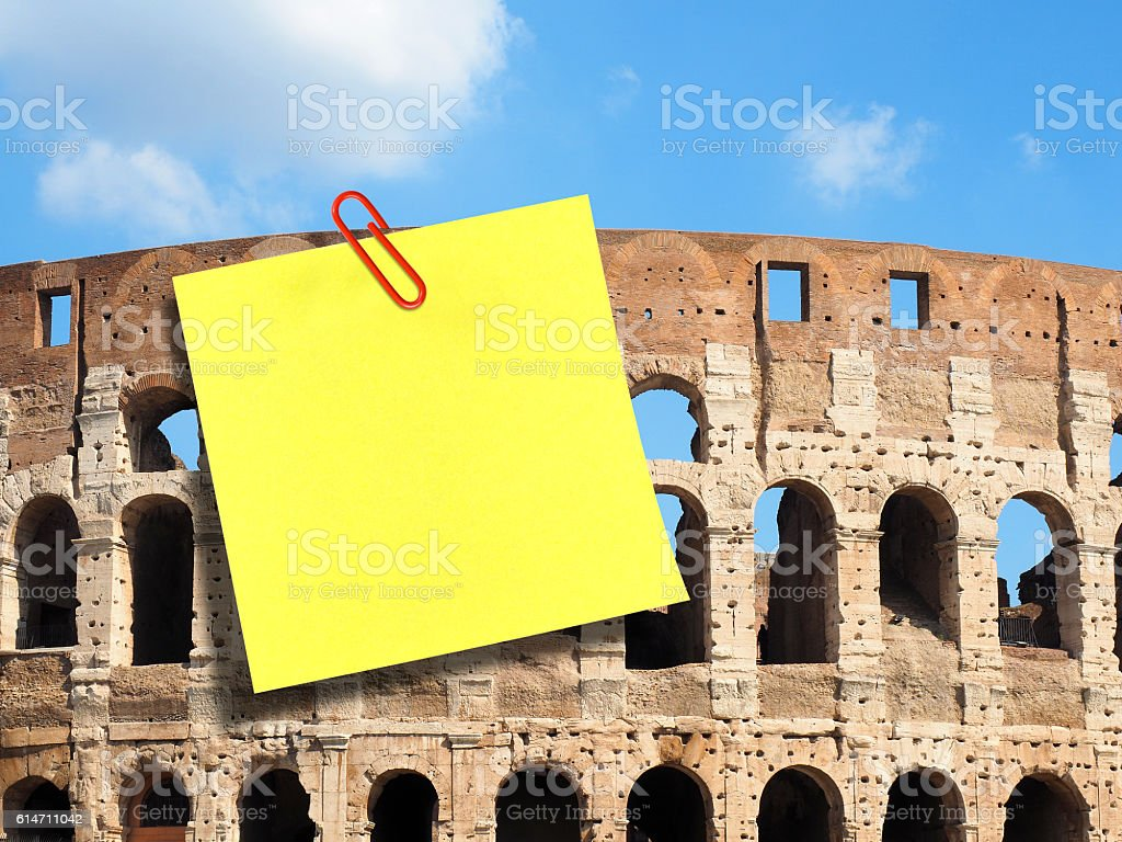 Large blank postit attached Colosseum Rome stock photo