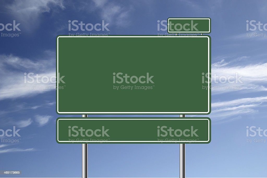 Large blank road sign. stock photo