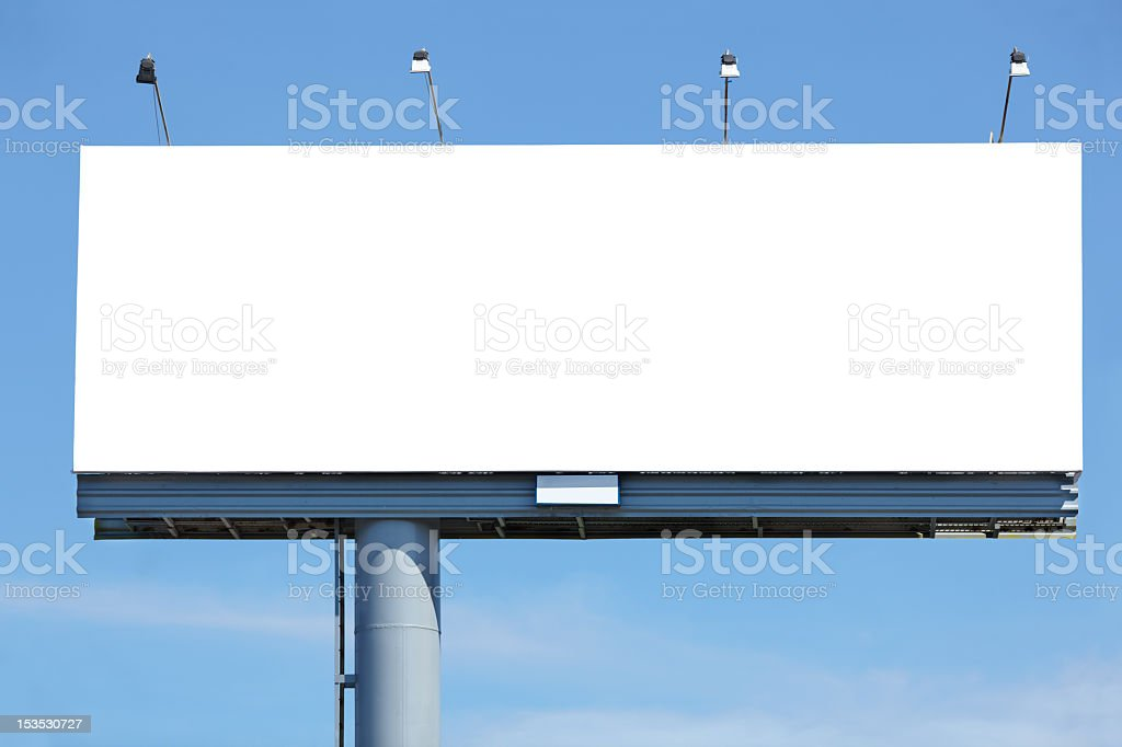 Large blank white billboard in the city stock photo