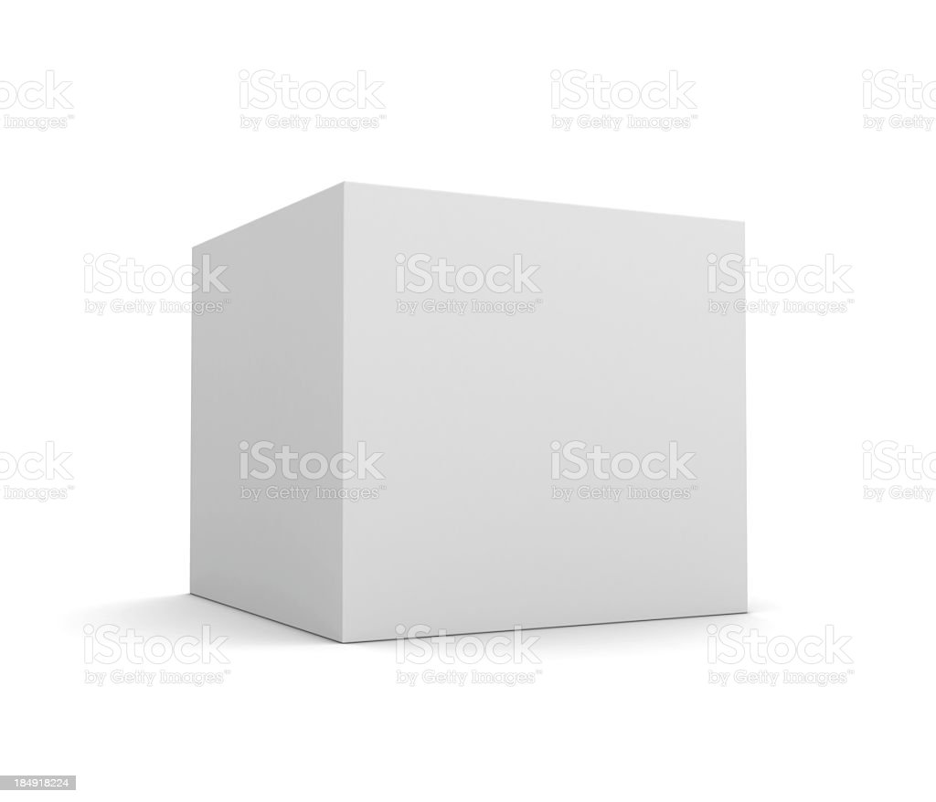 A large blank white retail box on a white background royalty-free stock photo