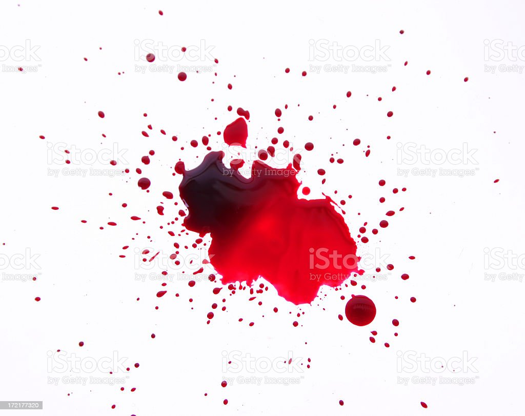 A large bloodstain on a white background stock photo