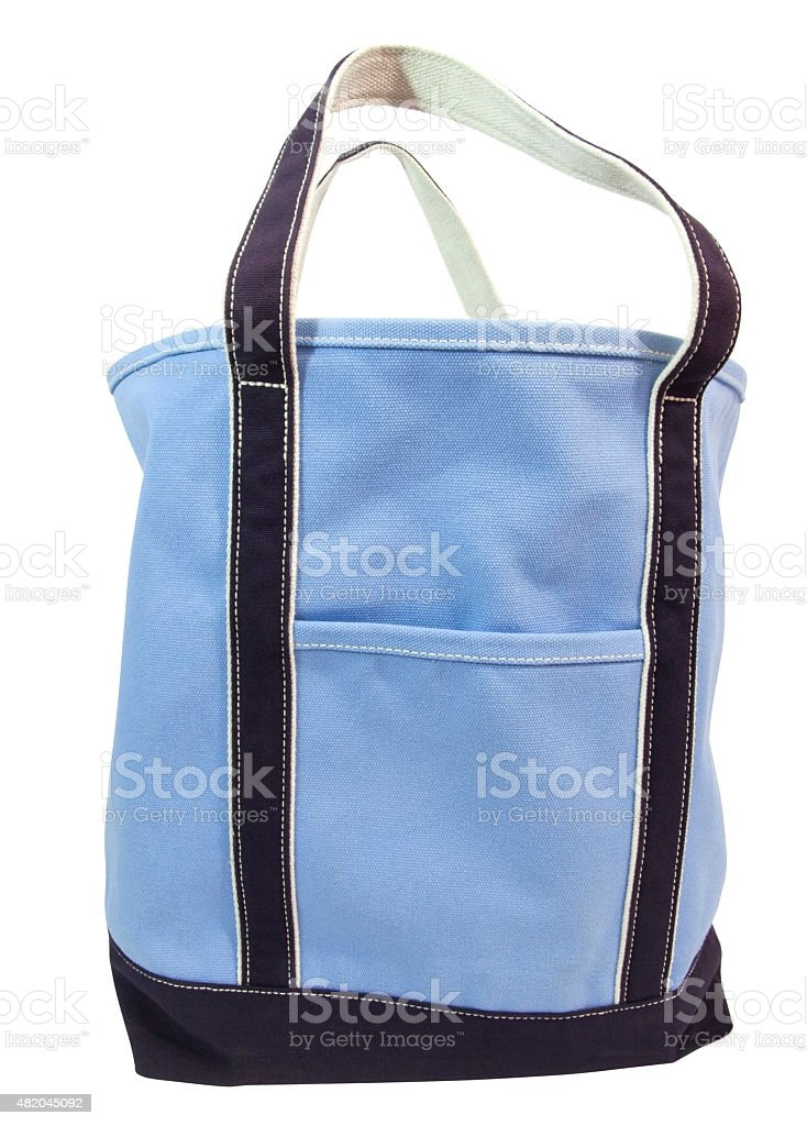 Large Blue Canvas Bag stock photo