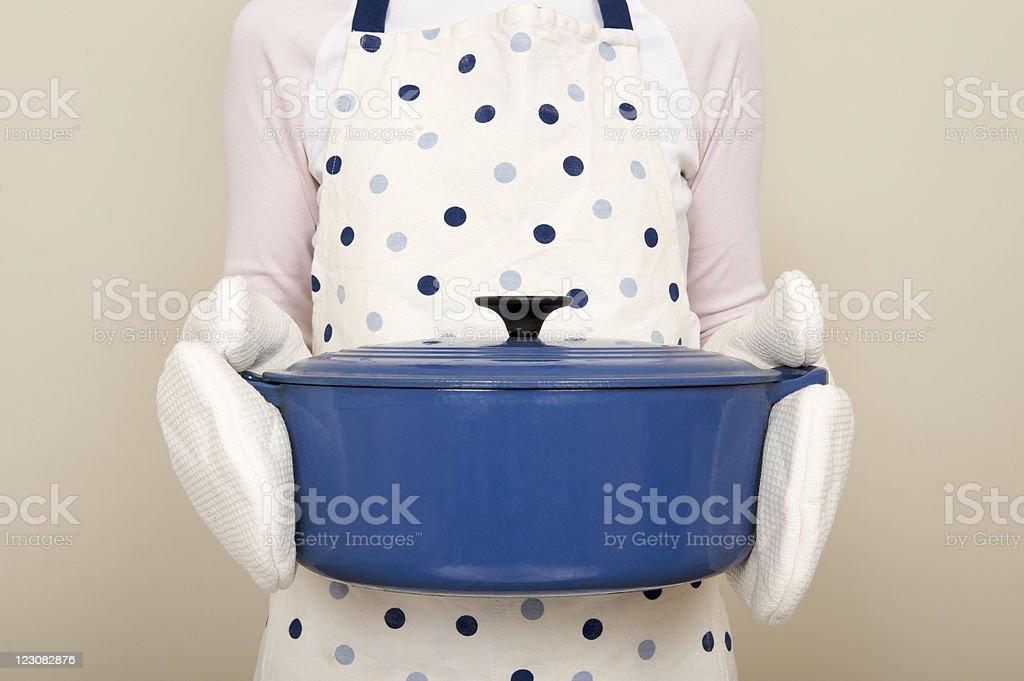 Large blue casserole dish stock photo