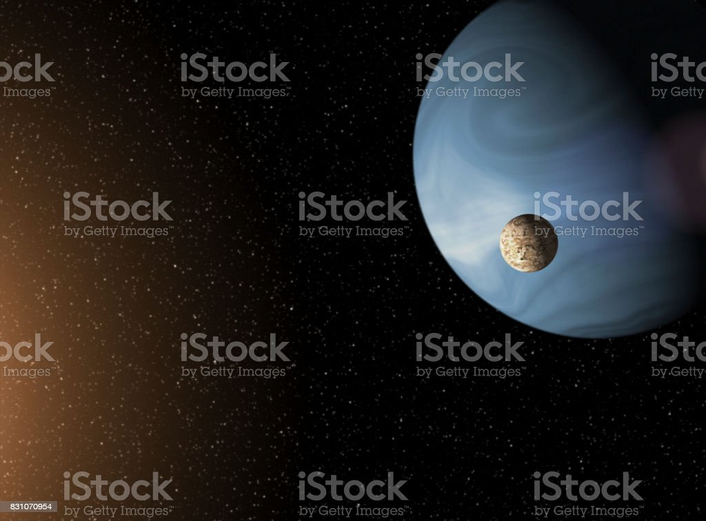 Large blue gas giant planet and a moon orbiting close to a red star. Outer Space, Cosmic Art and Science Fiction Concept. stock photo