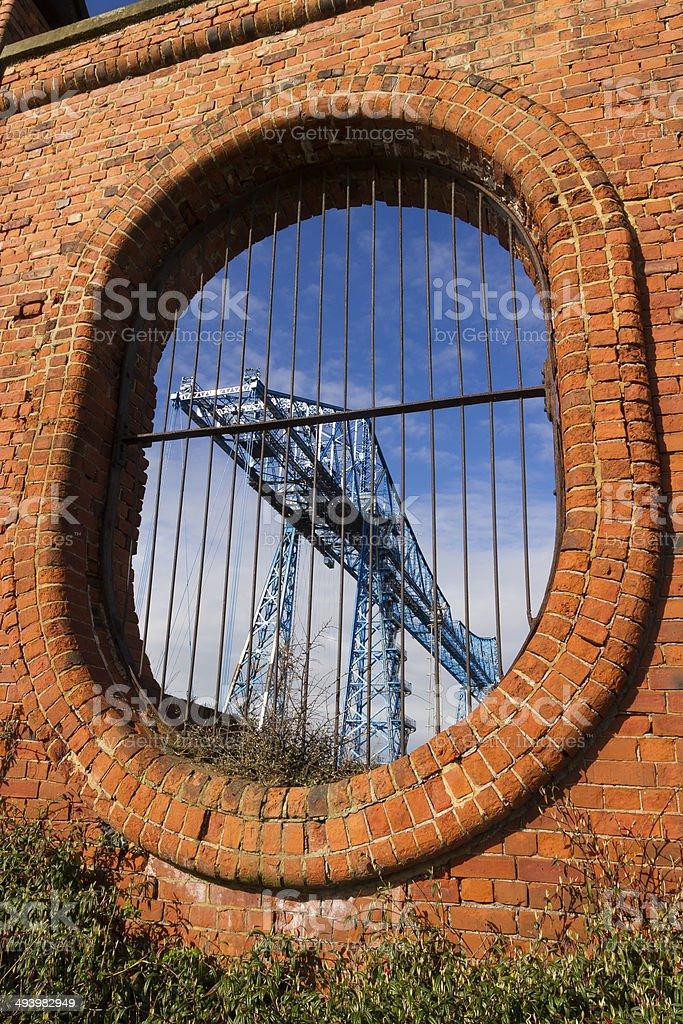 Large blue girders, Tees Transporter Bridge, Middlesbrough, Engl stock photo