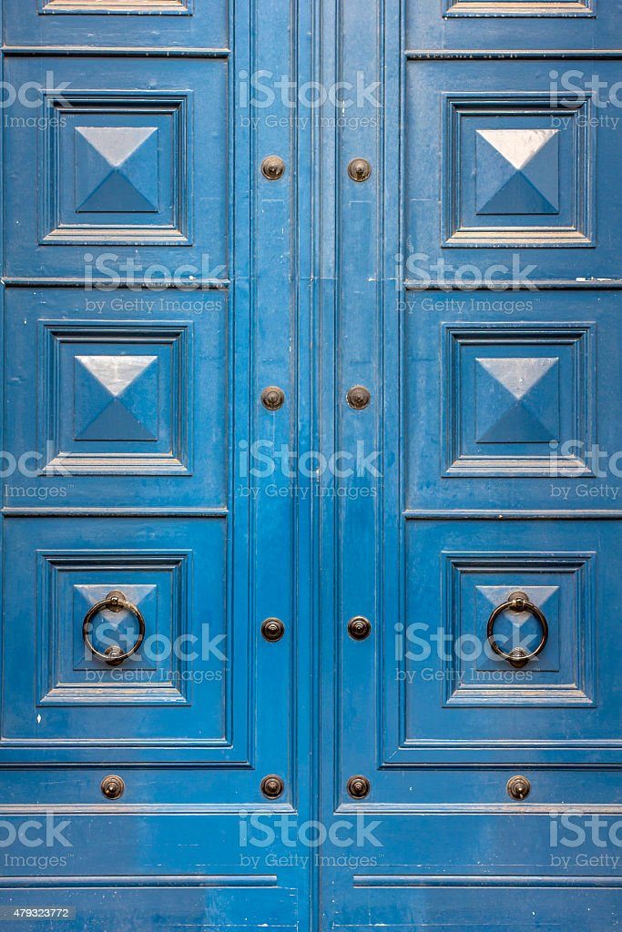 Large blue wooden door stock photo