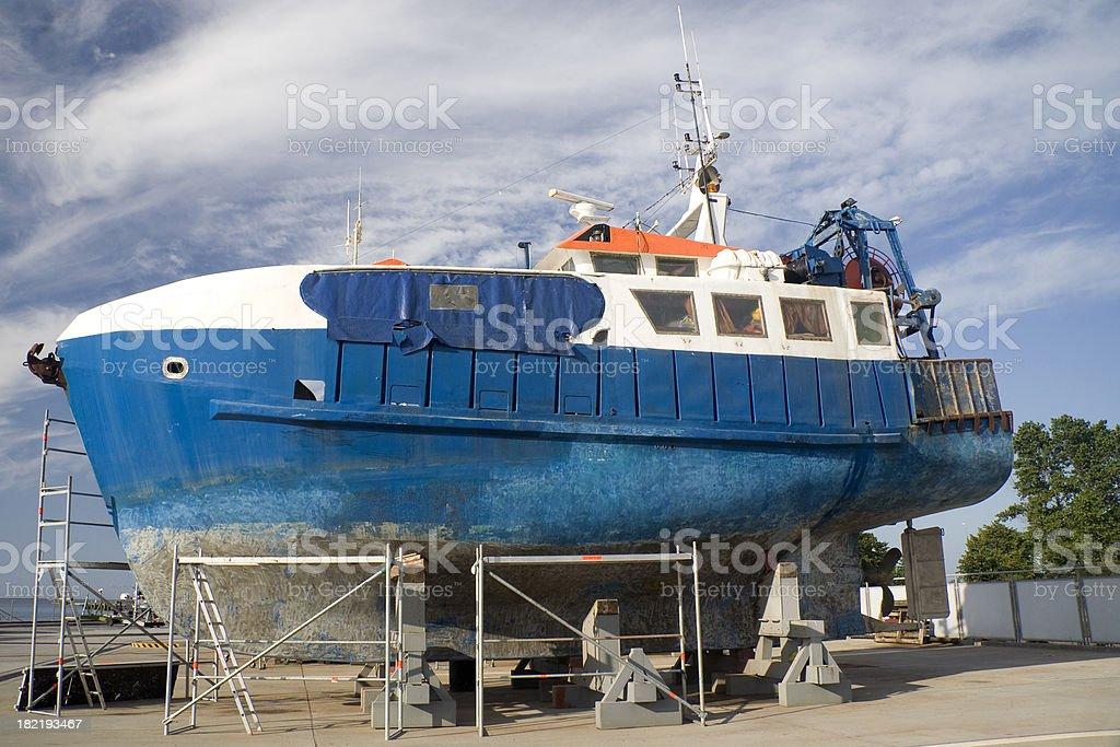 Large boat maintenance royalty-free stock photo