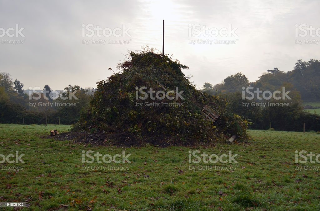 Large bonfire ready for Guy Fawkes night. stock photo