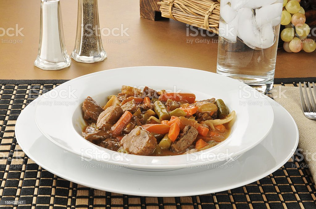 Large bowl of beef pot roast stock photo