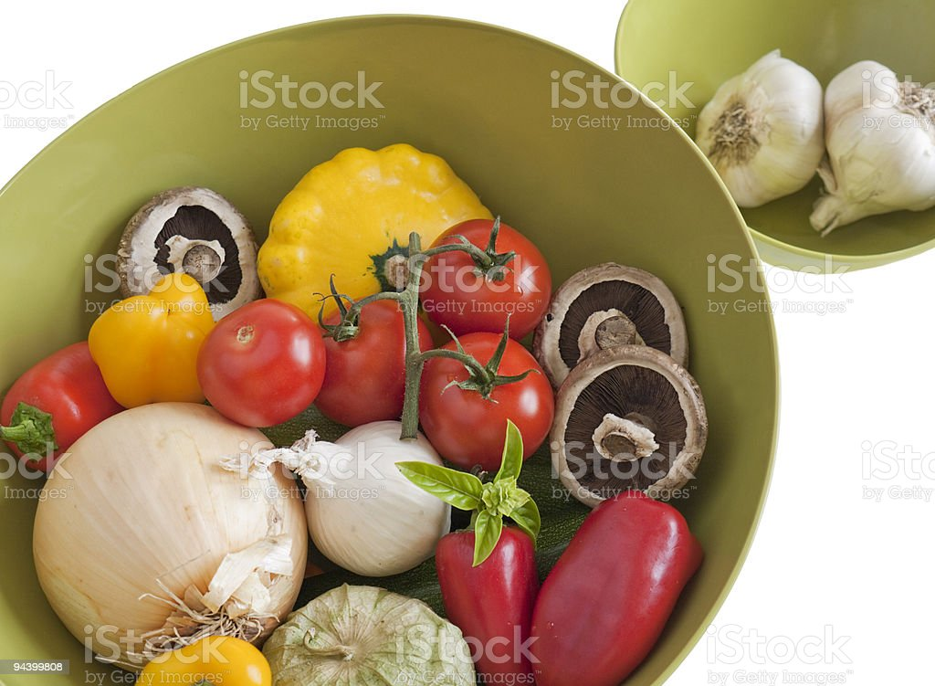 Large bowl of fresh raw vegetables royalty-free stock photo