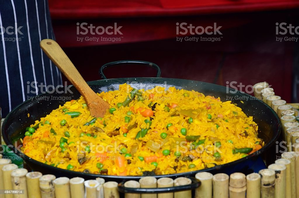 Large Bowl of Paella stock photo