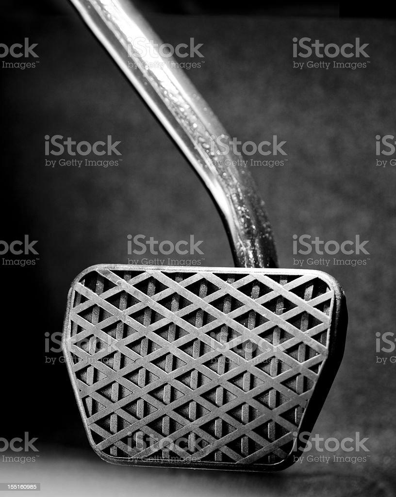 Large brake pedal close up vertical shot stock photo