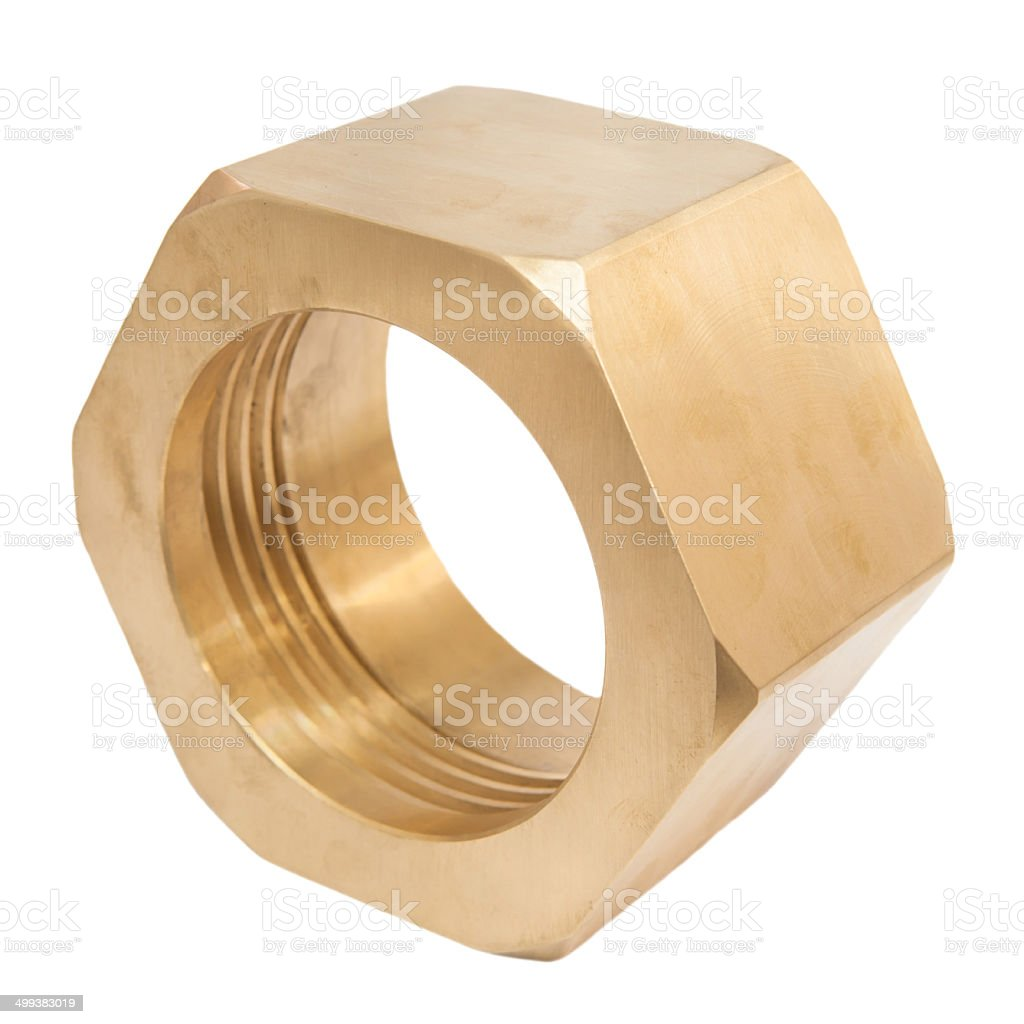 Large brass nut royalty-free stock photo