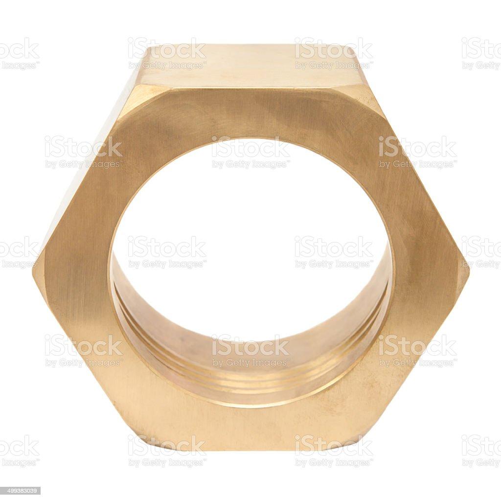 Large brass nut royalty-free stock photo