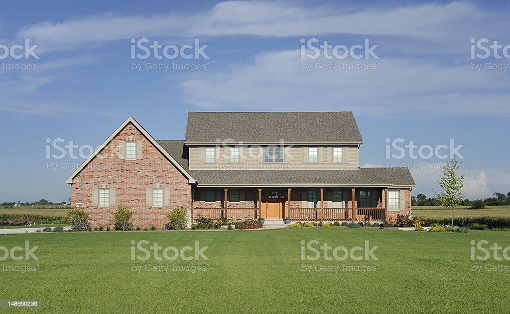 Large brick rural house stock photo