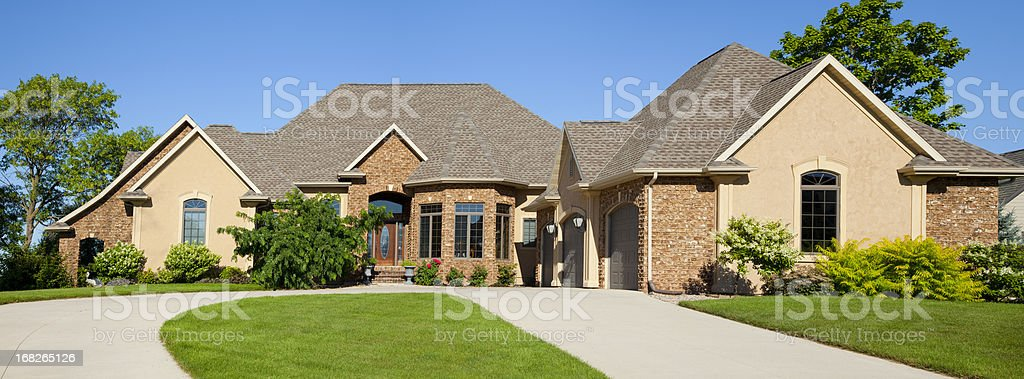 Large Brick Stucco Mansion Home Panorama stock photo