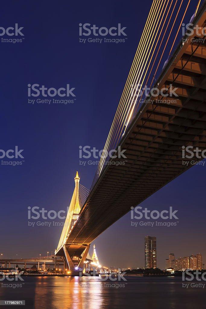 Large bridge over Chao Phraya river at twillight royalty-free stock photo